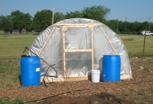 Rain Barrels and Hoophouse